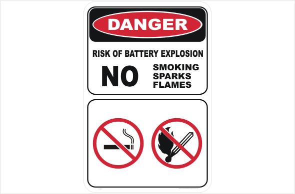 battery explostion no smoking no flames