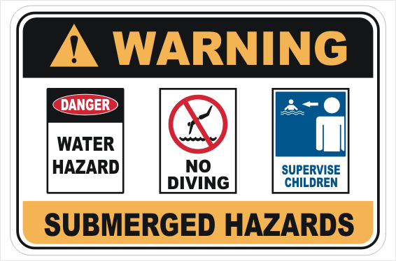 Submerged Hazard warning sign