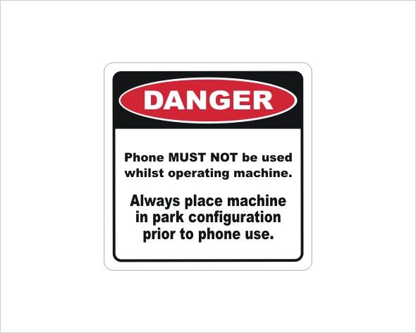 Mobile Phone use Danger sticker