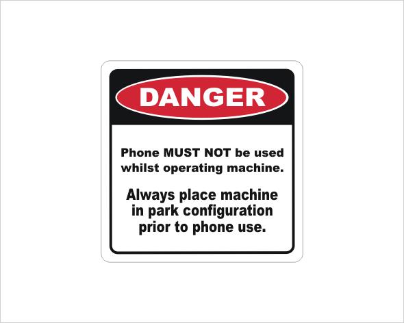 Mobile Phone use Danger sticker