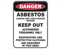 Asbestos Keep Out sign