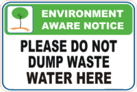 Do not empty Waste Water here Enviroment sign