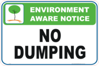 No Dumping Enviroment sign