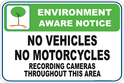 No Vehicles past this point Enviroment sign
