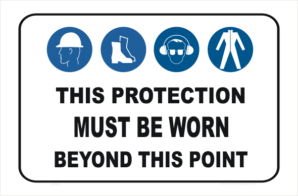 PPE, hard hat, boots, eye and hearing protection, clothing