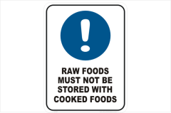 Raw foods must not be stored with Cooked Foods