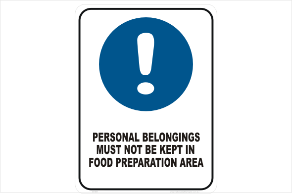 Personal belongings not in food area