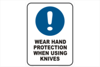 wear Hand protection when using knives