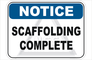 Scaffolding complete sign