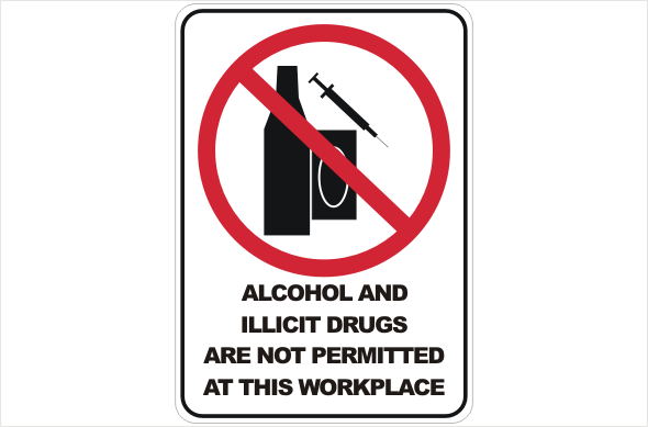 Alcohol And Illicit Drugs Prohibited Sign P2201