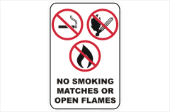 No Smoking matches Open Flames