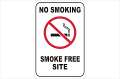Site No Smoking sign