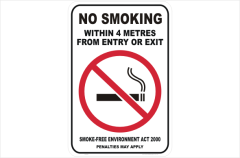 NSW No Smoking 4 metres from entry or exit