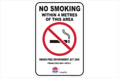 NSW no smoking within 4 metres of this area