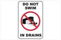 Do not swim in drains