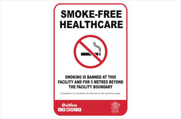 QLD Smoke-free smoking is banned at this facility and 5 metres