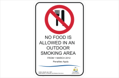 TAS No food in outdoor smoking area