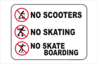 No scooters No skating No skateboarding signs