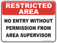 No Entry without Permission Restricted area sign