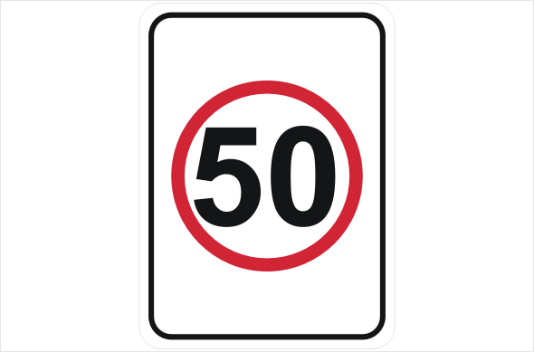 Speed Limit 50 KPH sign