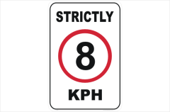 strictly 8 kph sign