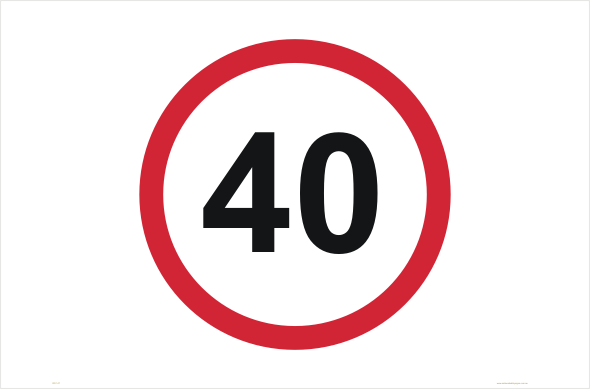 Speed Limit 40 KPH sign