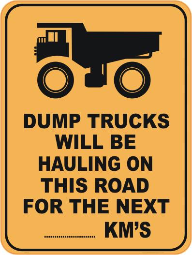 dump truck sign