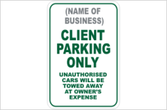Client parking sign