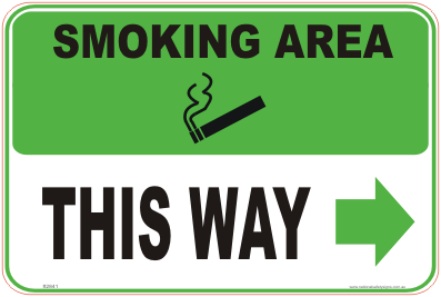 Smoking Area right arrow sign