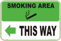 Smoking Area Left arrow sign