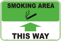 Smoking Area up arrow sign