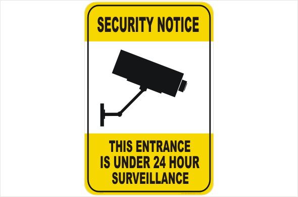 Security CCTV entrance under 24hr surveilance