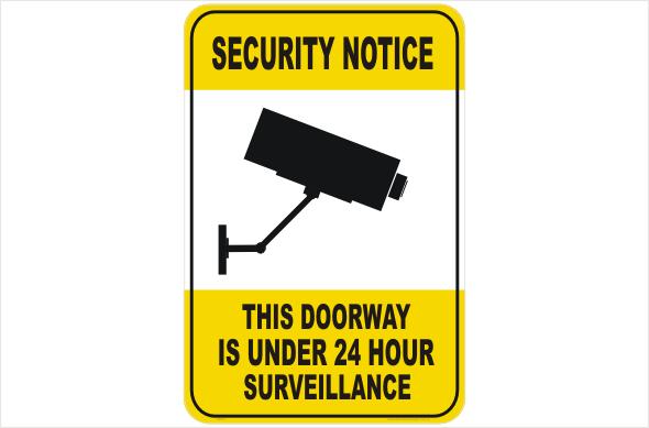 Security CCTV doorway under 24hr surveillance
