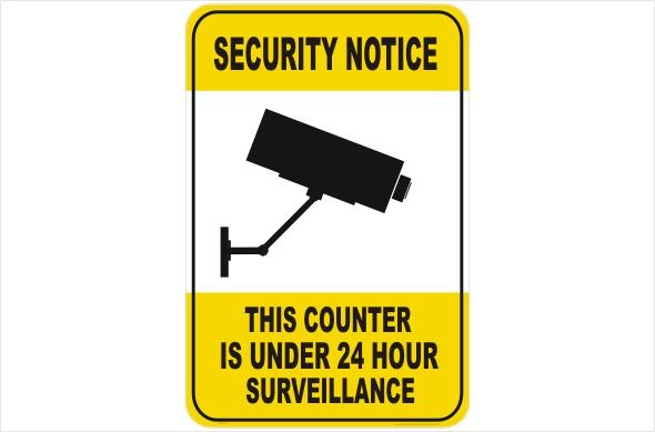 Security CCTV counter under 24hr surveillance