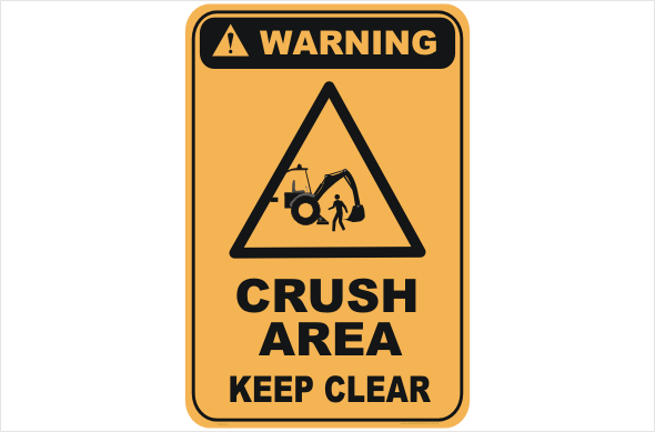 crush area, keep clear