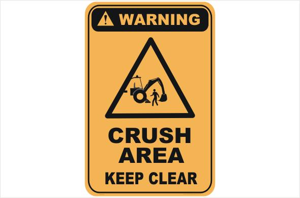 crush area, keep clear
