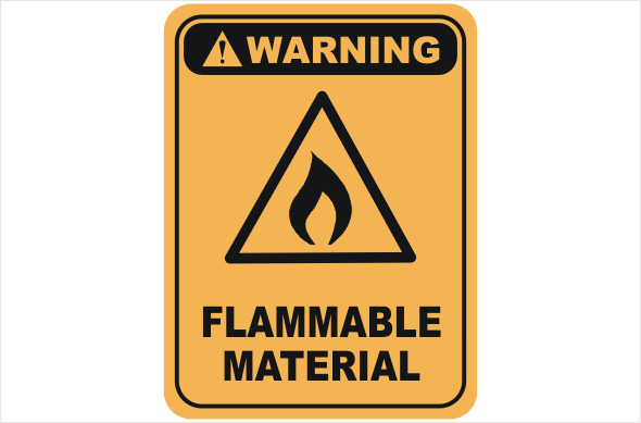Flammable material warning sign