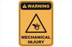 mechanical injury, keep hands clear