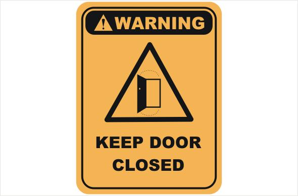 Keep door closed warning sign