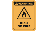 risk of fire warning sign