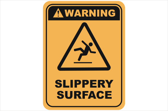 Slippery surfaces warning sign