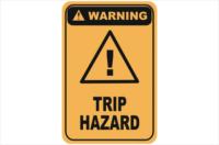 Trip hazard warning sign
