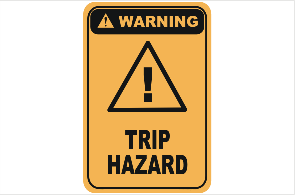 Trip hazard warning sign