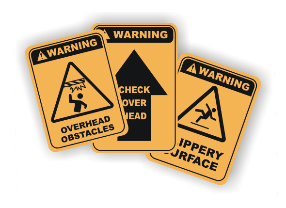 Falls and Obstacles signs