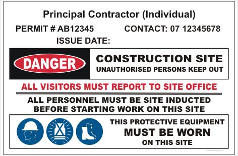 Principal Individual Contractor site sign