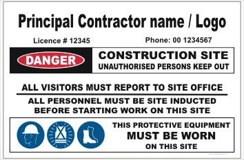 Principal Building Contractor site sign