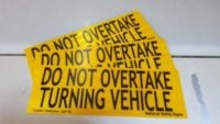 Do Not Overtake Turning Vehicle plate. Rear Marker Plates class 400