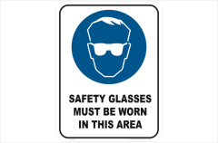 Safety glasses must be worn in this area