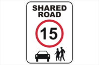 15kph shared road sign