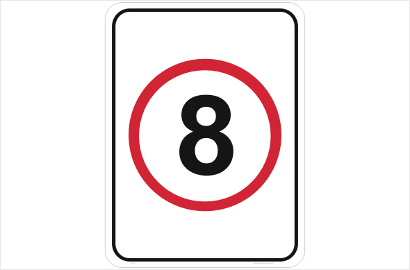 speed limit 8 kph sign